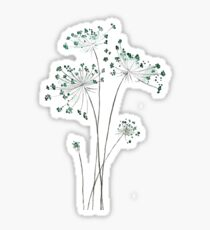 abstract green Queen Anne's lace watercolor  Sticker