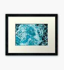 Crush - Turquoise Blue Ocean Sea Waves Framed Print