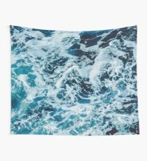Turquoise Blue Ocean Waves Wall Tapestry