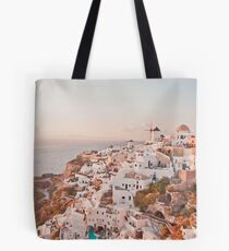 Santorini pink sunset, perfect day, famous Greek island, blush pink interiors Tote Bag