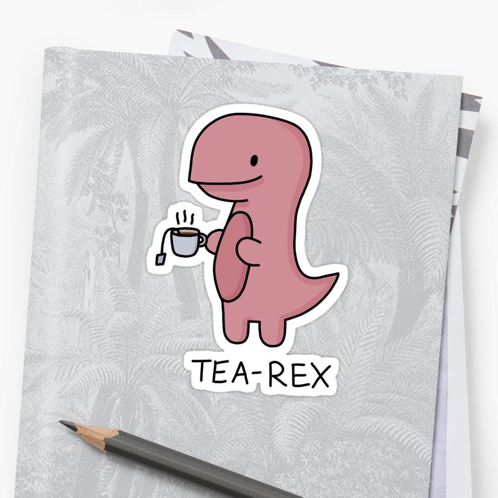 Ilustración 'Tea-Rex' Pegatina