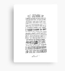 All In It - Justin Bieber (Handwritten Quote) Canvas Print