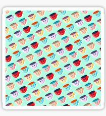 Cute smiling mugs pattern Sticker