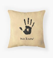 "The Elder Scrolls V: Skyrim - Dark Brotherhood Black Hand ""We Know"" Throw Pillow"