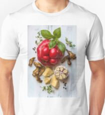 still life with heirloom tomato, basil and dried mushrooms T-Shirt