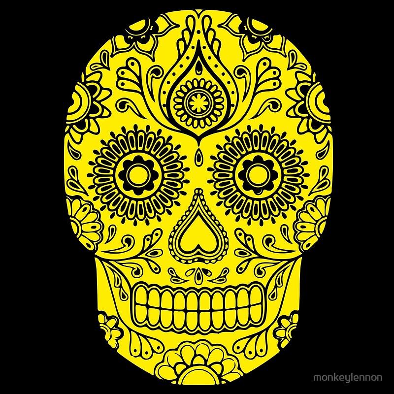 Mexican Death Skull, Yellow, day of the dead\