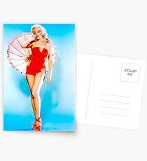 MARILYN MONROE : Modeling a Red Bathing Suit Print Postcards