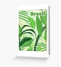 Brazil Rainforest Vintage style vacation print. Greeting Card