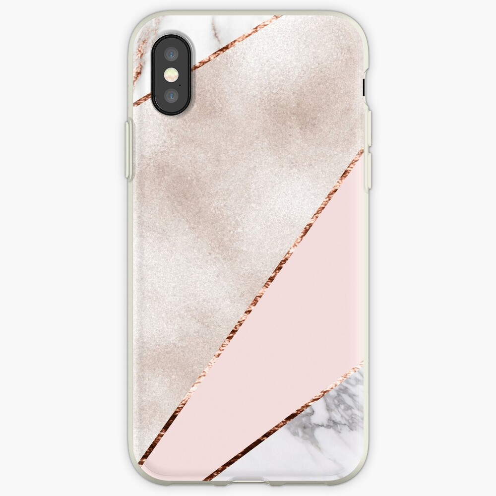 Spliced mixed rose gold marble iPhone Case & Cover