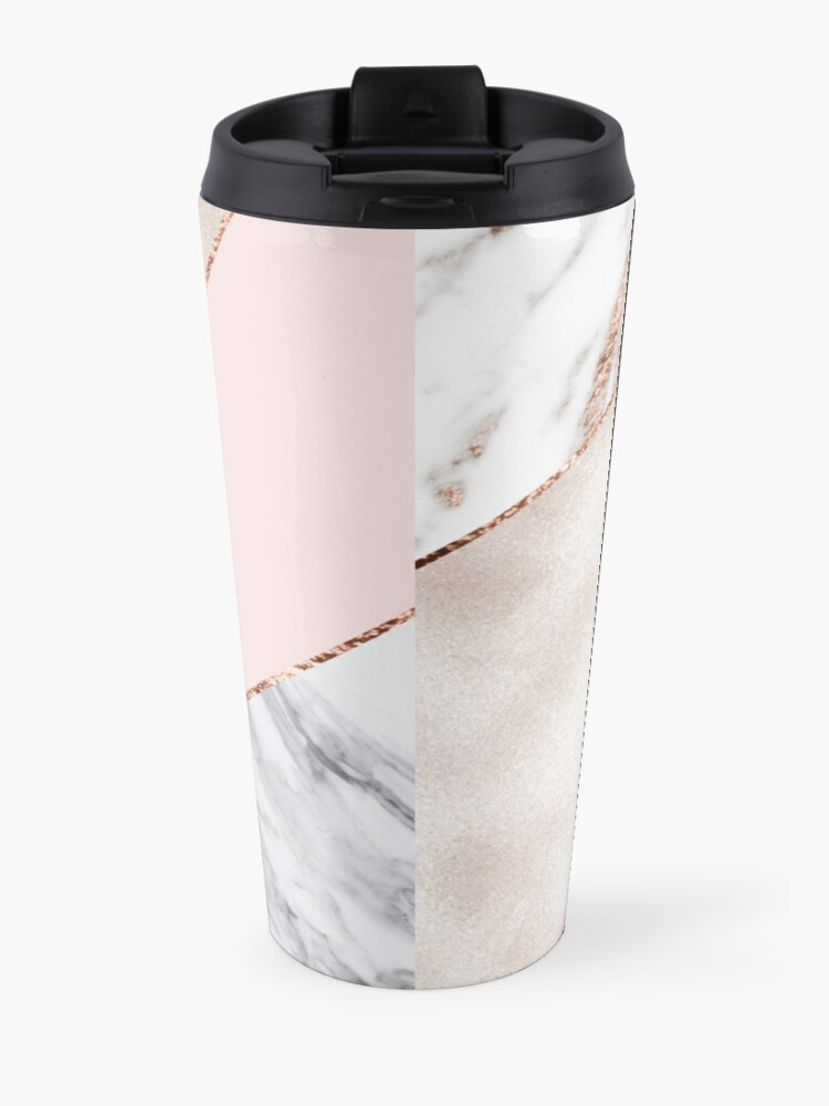 Alternate view of Spliced mixed rose gold marble Travel Mug