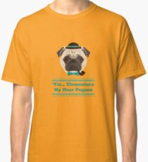Puglock Holmes - Cool Pug Puppy Hipster Classic T-Shirt