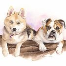 dog friends watercolor by Mike Theuer