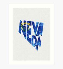 Nevada Typographic Map Flag Art Print