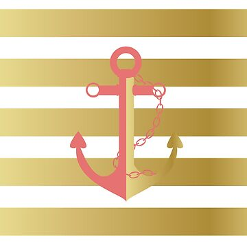 AFE Nautical Pink and Gold Anchor by afeimages1