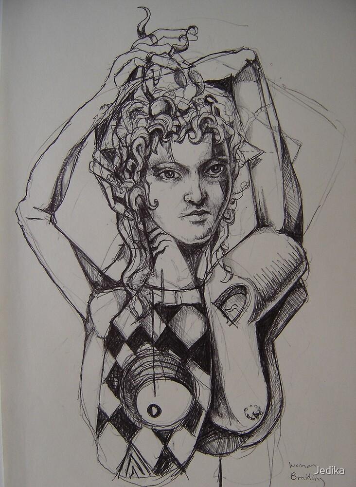 Woman Braiding her Hair by Jedika