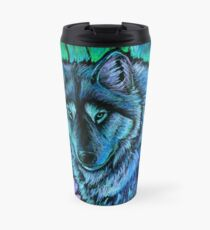 Wolf Aurora Blue Colorful Fantasy Spirit Travel Mug