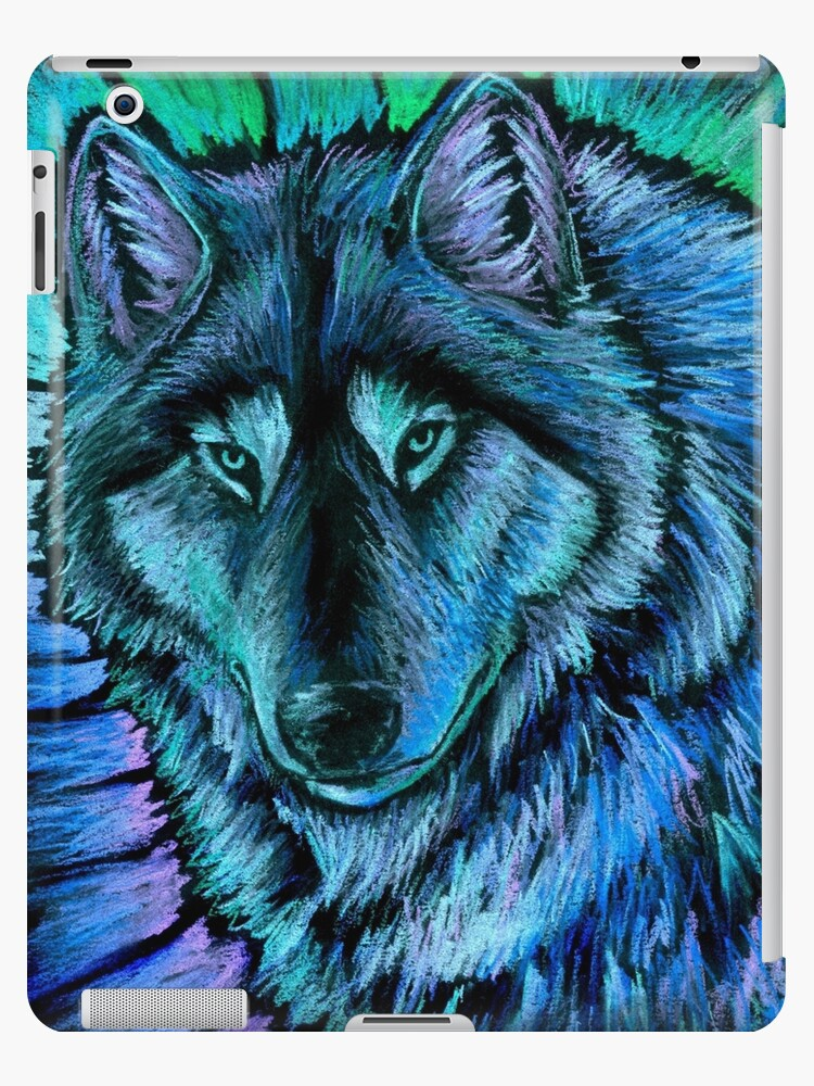 Wolf Aurora Blue Colorful Fantasy Spirit by Rebecca Wang
