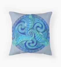 Seahorse Triskele Blue Celtic Mandala Throw Pillow