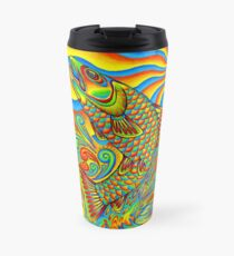 Psychedelic Rainbow Trout Fish Travel Mug