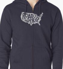 Road Trip USA - blue Zipped Hoodie