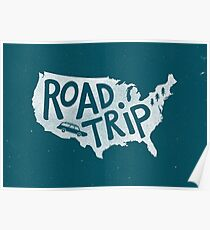 Road Trip USA - blue Poster