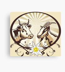 Natural farm, cow and goat Canvas Print