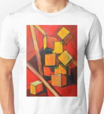 Painting in warm colors. Abstract composition with cubes T-Shirt