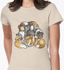 Rough Collie - sleeping pile cartoon Women's Fitted T-Shirt