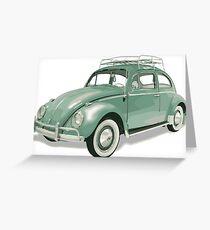 Pastel Green Beetle Volkswagen   Cars Greeting Card