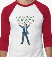 Happy Businessman. Success in Business. Successful Businessman. Businessman and Money. Man Throwing Money Up. Falling Money. Pop Art Banner. T-Shirt