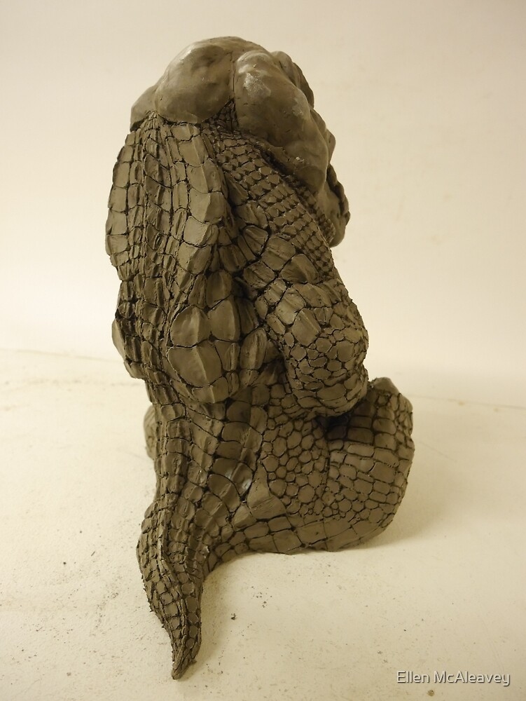 Crocodilian sculpture (back) by Ellen McAleavey