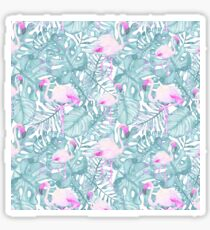 Neon pink green watercolor flamingo tropical leaves Sticker