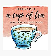 Happiness Is a Cup of Tea and a Book- Pink Photographic Print