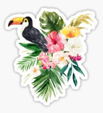 Watercolour Toucan and Tropical Flowers Sticker