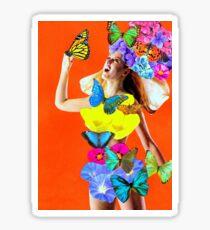 """Heidi"" technicolour vintage floral collage Sticker"