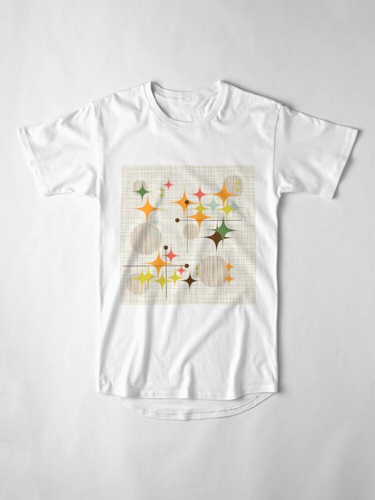 Vista alternativa de Camiseta larga Eames Era Starbursts y Globes 3 (bkgrnd)