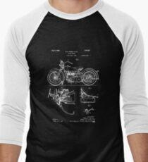 Harley Davidson Model JD Patent Poster, Motorcycle Print, Harley Davidson Poster, Motorcycle Art, Blueprint Men's Baseball ¾ T-Shirt