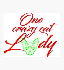 Lámina fotográfica One Crazy Cat Lady rojo y verde