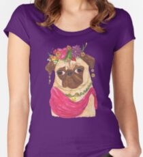 Frida Kahlo Pug Women's Fitted Scoop T-Shirt