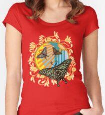 Art Deco Moths Flowers Women's Fitted Scoop T-Shirt