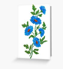 Blue watercolor wild flowers Greeting Card