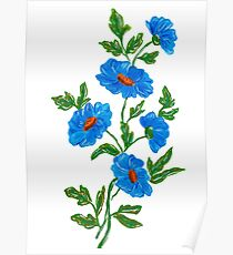 Blue watercolor wild flowers Poster
