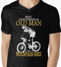 Never Underestimate An Old Man With A Mountain Bike Men's V-Neck T-Shirt