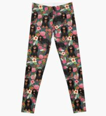 Cavalier King Charles Spaniel dog breed floral black and tan coat color Leggings