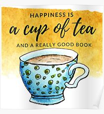 Happiness Is a Cup of Tea and a Book - Yellow Poster