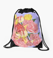 spring flowers with tulips Drawstring Bag