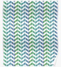 Zigzag striped pattern. Blue, green, white stripes Poster