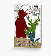 Peace on Earth Woodland Creatures Sticker Style Greeting Card