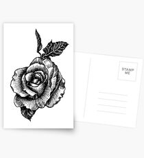 black and white tattoo rose drawing Postcards