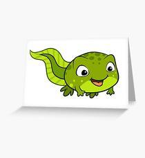 Happy tadpole cartoon illustration Greeting Card